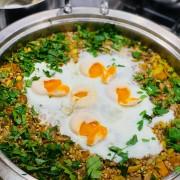 Buckwheat, Squash & Leek Pilaf with runny eggs