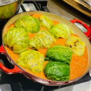 Green Cabbage Balls stuffed with Lentil & Rice